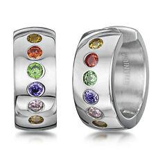 Titanium Hinged Hoop Coloured Stones Huggie Earrings