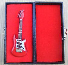 Escala 1:12th Rojo De Madera Estuche de guitarra y Negro de Casa de Muñecas en Miniatura Instrumento 155