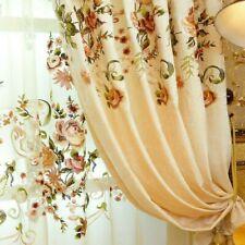 European Embroidery Curtain Pelmets Lace Voile Window Panel Drape Flower Decor