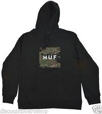 Huf TIGER CAMO BOX LOGO Black Camo Cotton Blend Pocket Men's Pullover Hoodie