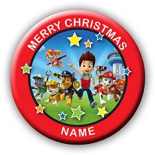 Rosso personalizzata PAW PATROL Natale Stocking Filler regalo BADGE MAGNETE Specchio