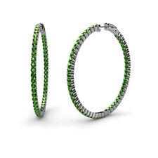 Green Garnet Inside-Out Hoop Earrings 3.68 cttw in 14K Gold