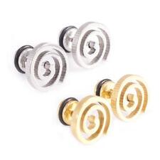 Brush Finish Set Of 2 Fake Plugs Earrings Spiral Design 16G