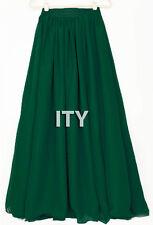 Dark Green Chiffon Double Layer Maxi Skirt Women Pleated Retro Long Dress Waist