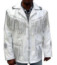 Real Leather Wear Western Cowboy Style Fringe Beads Mens Hand Made Coat Jacket