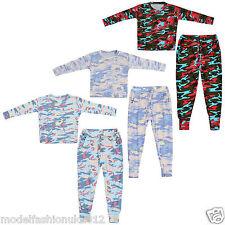 KIDS Unisex Army Camouflage Print 2 Piece Tracksuit Pyjama Suit with Pockets