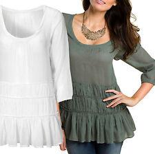 Ladies White / Green Cotton Top UK Sizes 6 - 20 Light Summer Frill Tunic Plus