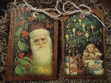 5 Handcrafted Wooden Ornaments/Hang Tags/Gift Tags/Bowl Fillers Santa/Kids SETo