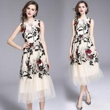 2018 women's fashion temperament Embroidery sleeveless Long Dress Mesh Party Hot
