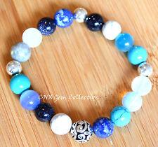 Ocean and Sky Gem Crystal Beads Bracelet Silver Turquoise Moonstone Lapis Opal