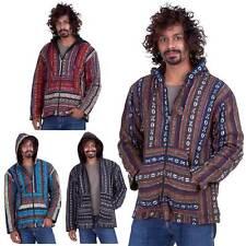Mens Hippy Jacket, Mans Nepalese Baja Hippie Hoodie, Festival Clothing For Men
