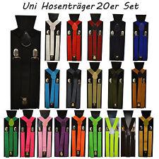 20 Stück Set Hosenträger 3er Clip Damen Herren Hosen Träger Uni Farben elastisch
