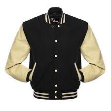 Black Cream Varsity Wool Letterman Jacket Real Leather Sleeves Cream Rib