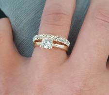 Zirkonia Goldring 18 Karat Vergoldet Verlobungsring Ehering Gold Ring Yüzük Neu
