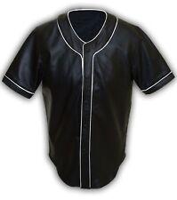 Mens Real Soft Sheep NAPPA Black Leather Base Ball Jersey Shirt - (BBS1-WP)