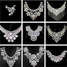 1PCS White Lace Embroidered Neckline Neck Collar Trim Clothes Sewing Applique