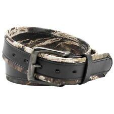 Men's Mossy Oak Break Up Belt - Stitched Overlay - Black or Brown - 36 38 40 42