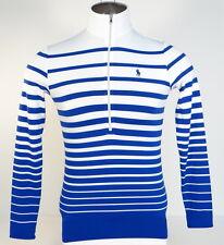 Polo Golf Ralph Lauren Blue & White 1/2 Zip Long Sleeve Shirt Blue Pony Mens NWT