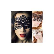 Maschera donna carnevale nera pizzo lace mascherina veneziana bianca halloween