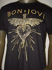New Men's Bon Jovi Stabbed Bleeding Heart and Dagger Rock Band Tee Shirt Bonjovi