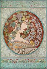 Art Deco - Alphonse Mucha - Blue Deco Lady Face - A3 Art Poster Print