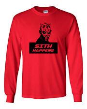 520 Sith Happens Long Sleeve shirt funny star geek nerd jedi wars force vintage