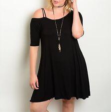 Plus Size Black Off One Shoulder Dress PT3-CN300825