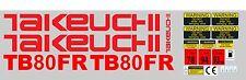 TAKEUCHI TB80FR MINI BAGGER KOMPLETTE AUFKLEBER SATZ MIT SICHERHEIT-WARNZEICHEN
