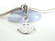 Silver Tone Plain Ship Anchor Nautical SliderClip Dangle Charm fit Euro Bracelet