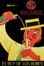 Bacardi Rum King Vintage ad POSTER.Cuban.Bedroom Bar Decor.El mejor ron! 01i