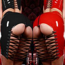 Women PVC Faux Leather Wet Look Sexy Backless Mini Dress Bodysuit Clubwear Dress