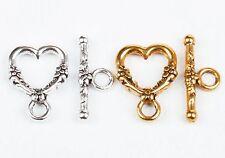 20Sets Tibetan Silver Heart Shaped Ring Hook Clasp Findings For Bracelet DIY
