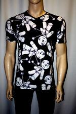 MEN's GOTHIC BLACK & WHITE VOODOO DOLL Stampa Scollo A V T-Shirt Top goth punk emo