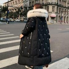 Korean Long Padded Maxi Women Hooded Faux Fur Trim Down Coat Loose Parka Outwear