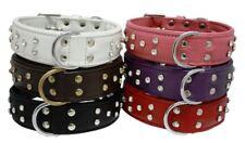 "Angel Athens Genuine Leather Rhinestone Dog Collar - Size 10"" - 30"" - Pet Bling"