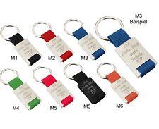 Schlüsselanhänger Metall Stoff Blau Rot Grün Schwarz Orange Pink mit Gravur