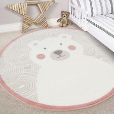Kids Blush Pink Round Boy Girl Bedroom Rugs Circle Teddy Bear Baby Nursery Mats