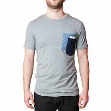 T-Shirt Uomo Grigio Taschino Maglia Manica Corta Elegante Maglietta Cotone Slim