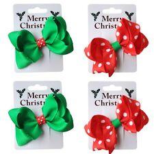 Christmas Ribbon Bow Motif Spot Hair Beak Concorde Clip Slide Xmas Accessories