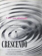 PUBLICITE PARFUM LANVIN CRESCENDO TOURBILLON DE 1961 FRENCH AD PERFUME