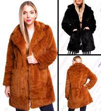 Womens Faux Fur Coat Black Brown Long Jacket Size 10 12 14 16