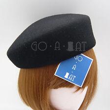 VINTAGE Wool Felt Cadet Pillbox Hat Women | Black Blue Red Beige Navy Magenta