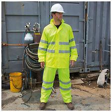 Hi Vis Waterproof Suit Jacket & Trousers Rainproof Packaway Rain Set S-4XL