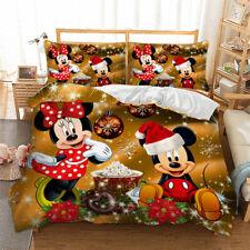 Christmas Mickey Mouse Duvet Cover Pillow Cases Quilt Cover Children Bedding Set