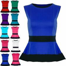 Womens Peplum Top Ladies Contrast Waist Panel Frill Skater Dress Top Plus Size