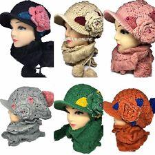 New Women Girls Knitted Crystal Flower Woolen Peak Hat and Scarf Set Warm Winter