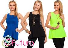 Trendy Women's Vest Top Casual Crew Neck Sleeveless T-Shirt Size 8-12 8323