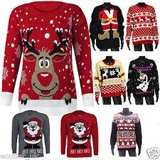 Mens Ladies Winter Christmas Jumper Reindeer Novelty Rudolf Snow Plus Big Size