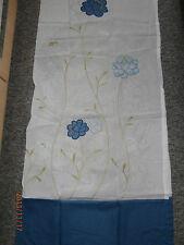 Gardine Vorhang Voile Schlaufen weiß blau bestickt H x B 220 x 140 o. 140 x 140