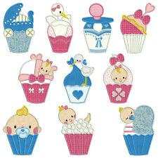 BABY SHOWER CUPCAKES * Machine Applique Patterns 10 Designs,4 Sizes